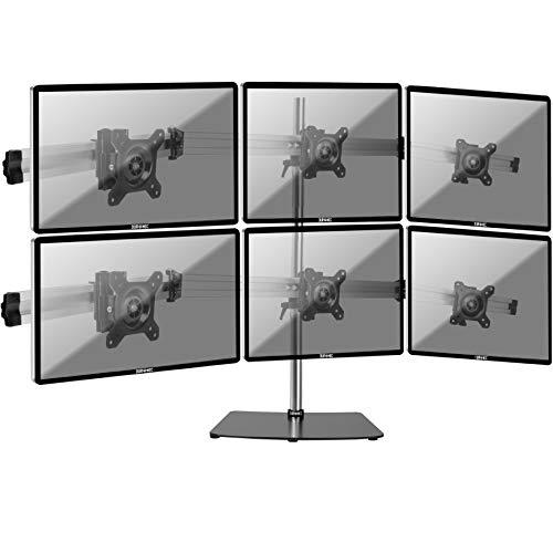 """Duronic DM756 Supporto da scrivania per 6 Monitor 15"""" – 24"""" Staffa Supporto Monitor/Schermo con Base in Metallo battuto VESA Max 100 x 100mm Struttura in Alluminio Portata 8kg per Braccio"""