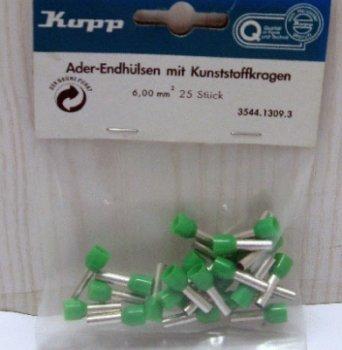 Kopp 354413093 Ader-Endhülsen mit Kunststoffkragen, 25 Stück, 6 mm², grün