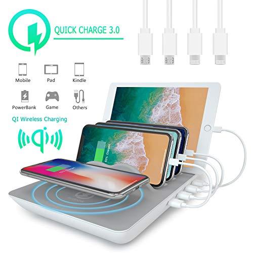 Abree Stazione Ricarica USB Multipla Docking Station Wireless 2.4A Con 4 porte USB & 4 Cavi Per iPhone iPad and Per Huawei Smartphone (Grigio)