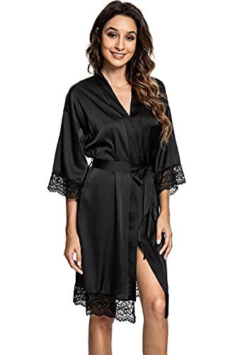 heekpek Morgenmantel Damen Sexy Bademantel Kurz Satin Leichter Morgenmantel Spitze V Ausschnitt Nachthemd Kimono Bademantel Damen mit Gürtel