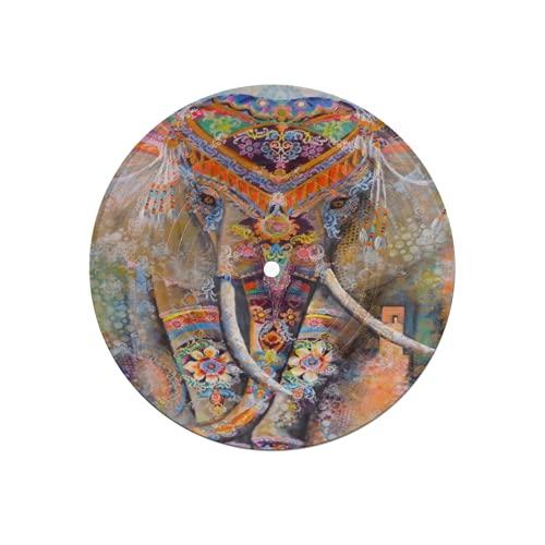 Posavasos de Disco para Bebidas,Bohemia Elefante Animal Hippie Étnico Boho,Absorbente 6 Piezas Posavasos de Disco Protección eficaz Escritorio
