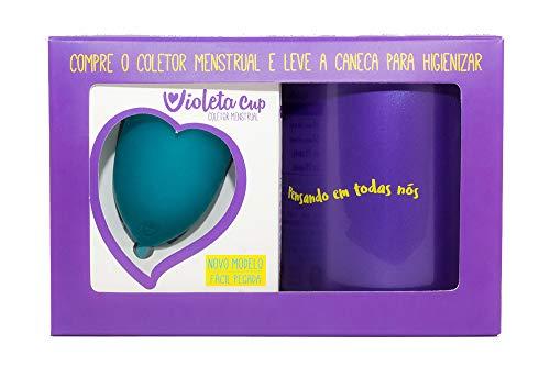 Kit Coletor Menstrual Violeta Cup Tipo B Verde + Caneca Higienizadora, Violeta Cup, Verde, Tipo B Mulheres Com Até 29 Anos E Sem Filhos, E/Ou Com Colo Do Útero De Altura Baixa