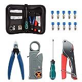 Crimpadora de cable coaxial, kit de herramientas de compresión coaxial, pelacables con conectores F RG6 RG59 y bolsa de almacenamiento