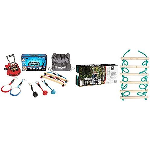 Slackers Intro Kit Hindernisse zum Aufhängen, Unisex, Kinder, Mehrfarbig & USA Strickleiter, zusätzliches Tool Ninja Line, Schaukel, 2,5 Meter, 6 hochwertige Holzsprossen 38 cm breit