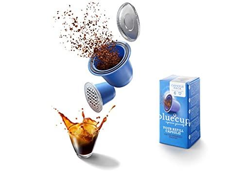 Bluecup 6 Cápsulas Recargables Compatibles con Nespresso Máquinas, Cápsulas Reutilizables Nespresso Cafeteras, Cápsulas Rellenables…