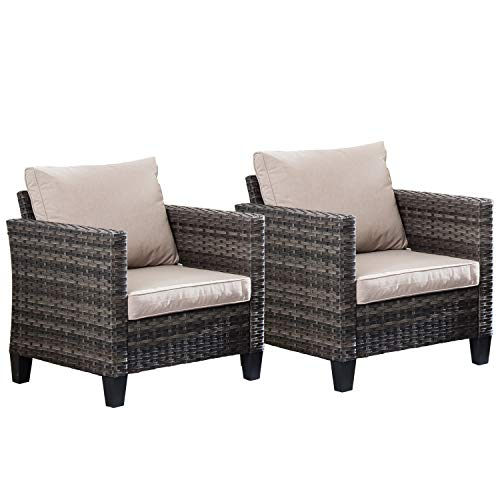 Ovios Patio Furniture Sets 2 PCS Wicker Chairs Porch Rattan Chairs All Weather Outdoor Single Chairs Patio Dining Chairs Garden, Backyard, Steel (Grey-Beige)