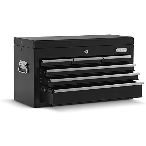 VonHaus Topchest Werkzeugkasten - Tragbare Aufbewahrung für Handwerkzeuge/Teile/Bits mit Tragegriff & Anti-Rutsch-Schubladen - Sicher mit Schloss & Schlüssel