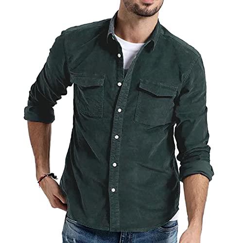 SSBZYES Camisas para Hombres Camisas De Manga Larga para Hombres Chaquetas De Color Slido Camisas De Manga Larga para Hombres Camisas De Pana De Manga Larga De Color Slido para Hombres