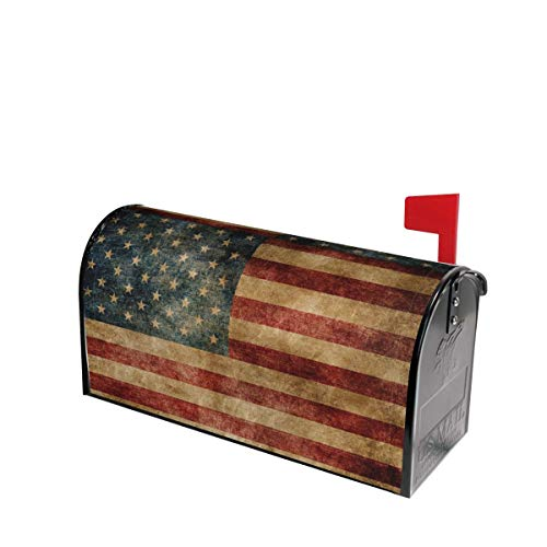 Retro American Flag Mailbox Covers Magnetic Post Box Cover Wraps Standard Size 21x18 Inches for Garden Yard Decor