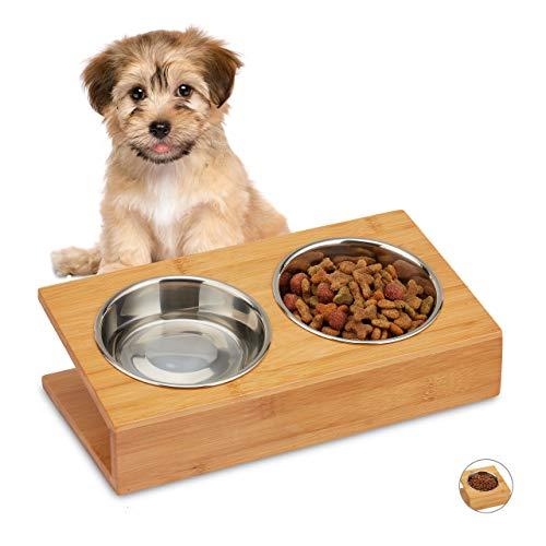 Relaxdays Napfstation, Katzen & kleine Hunde, Wasser und Futter, geneigter Doppelnapf Edelstahl, HBT 10x33,5x18, Natur, 2 Näpfe, 1 Stück