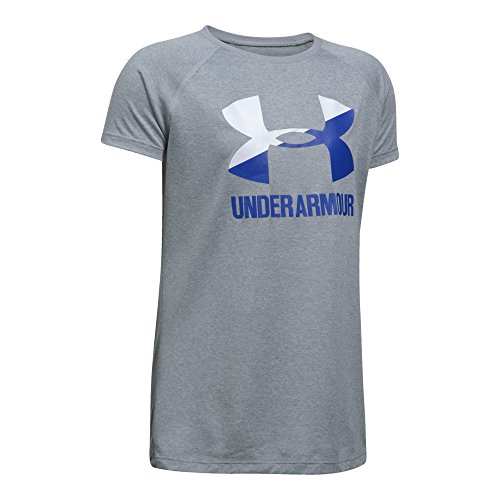 Under Armour Girls Solid Big Logo Short Sleeve T-Shirt,Steel Light Heather , Youth Large