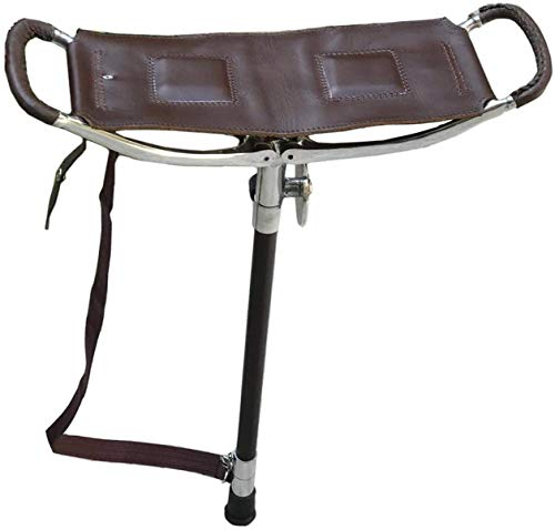 Adjustable Antique Brown Shooting Stick | Very Durable Big Size Leather Seat Folding Chairs | Polo Fishing Golf Seat Stick | Lightweight Hiking Walking Sticks