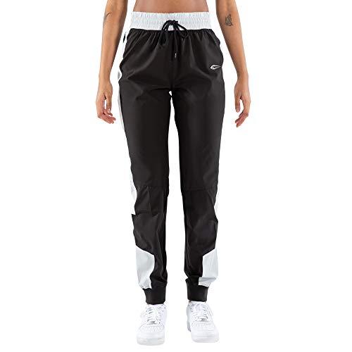 SMILODOX Damen Jogginghose Juliet - Lange Hose im Loose fit mit high Waist Bund und Tunnelzug, Größe:XS, Color:Schwarz/Blau