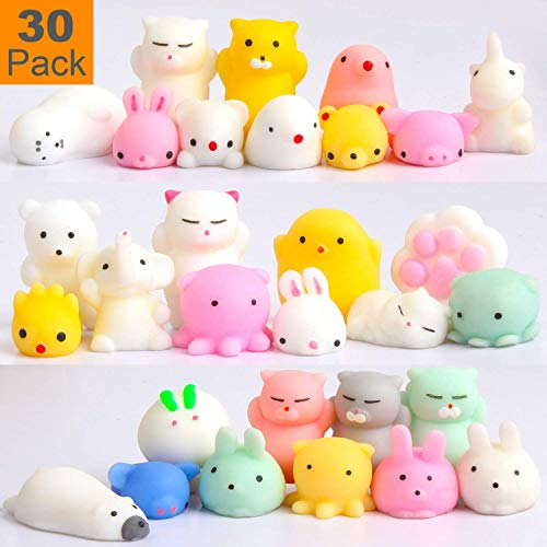 Squishy Toys Party Favors for Kids - Squishys 30 Pack Mini Mochi Squishies Pinata Easter Egg Fillers Treasure Box Prizes Classroom Unicorn Cat Stress Reliever Pug Stuffed Animal Silicon by Feroxo
