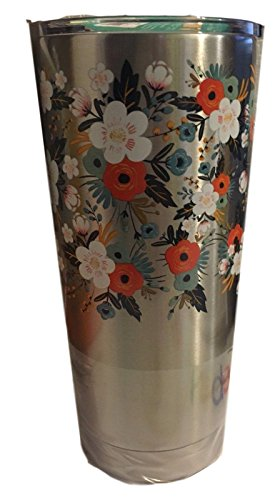 The Pioneer Woman Stainless Steel Tumbler 20 oz Many Colors Hot Cold Insulated 18 hours (Silver, 20 ounce)