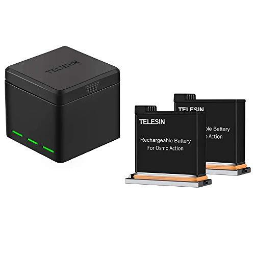 TELESIN OSMO Action Akku (3.85V 1300mAh),and Rapid 3-Channel Intelligentes Ladegerät für DJI OSMO Action Camera (Ladegerät + 3 Batterien)