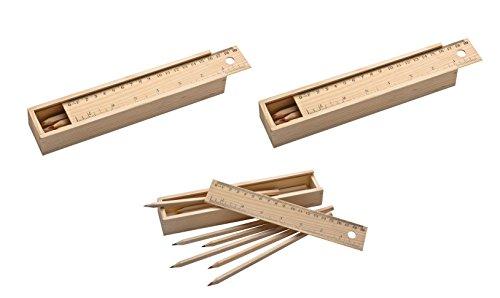 3x houten doos met gravure/met 24 kleurpotloden/deksel met liniaal/onbehandeld