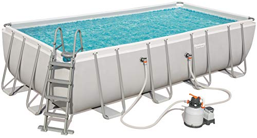 Bestway 56466 Power Steel Rectangular Pool 549 x 274 x 122 cm, Stahlrahmenpool-Set con Filtro de Arena y Accesorios, Gris