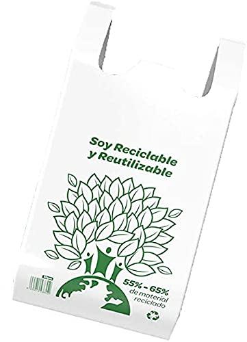 ACESA Bolsa Camiseta Reutilizable desechable Greenatur varios tamaños (48x59, 42x53 y 35x45) para Comercio Tiendas. Plástico Reciclado más del 70%. Color Blanco. Paquete 120 Ud