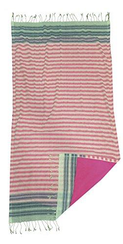TEXTIL TARRAGO Toalla pareo 95x170 cm rallas azul y rosa KIK26/1 (rosa)