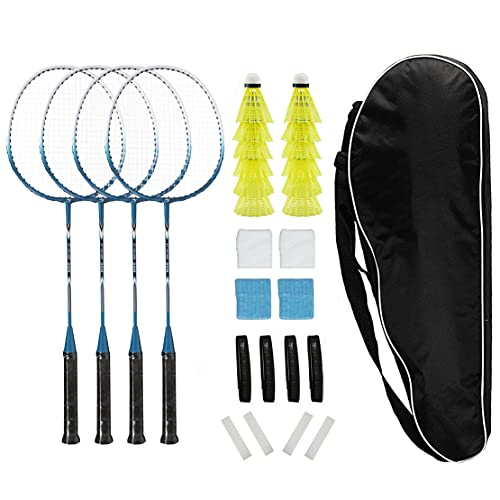 Badminton Rackets Set of 4 for Backyard Sports Adults Kids Family Racquets Game with 12 Shuttlecocks,4 Replacement Grips,4 Wristbands and Carrying Bag (Blue -A,Set of 4)
