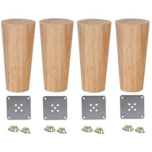 Holzmöbelfüße, Sofaersatzfüße, verwendet für Fernsehschränke, Schränke, Bett- und Esstische, mit Montageplatten und Schrauben, Massivholzmöbelfüße-12cm