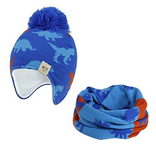 Vobony Sombrero y Bufanda Conjunto Niños Niñas Invierno Otoño Bufandas del Bebé Gorro de Punto con Pompon Forro Polar Patrón de Dinosaurio Sombrero de Lana Cuello Caliente