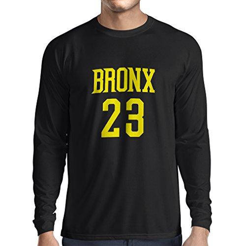 lepni.me T-Shirt Manches Longues Homme Bronx 23 Freestyle, New York City vêtements de Mode de Style Sport (XX-Large Noir Jaune)
