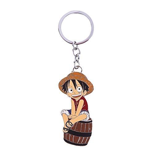 Yovvin One Piece Schlüsselanhänger, One Piece Strohhut Monkey D. Luffy Keychain