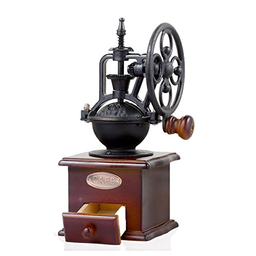 Watooma macinacaffè manuale, in legno classico vintage stile antico in ghisa manovella chicchi di caffè con macina in ceramica ferro Burr Core, grind impostazioni e cattura cassetto