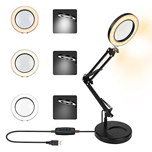 Lupa con luz, Lupa LED de 5 x con luz LED, luz regulable, luz regulable, brazo oscilante flexible de 360°, lente de mesa de escritorio, con base de soporte, para lectura 3, modelo 10, brillo