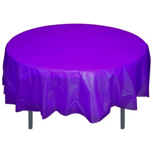 6-Pack Premium Plastic Tablecloth 84in. Round Plastic Table cover - Purple
