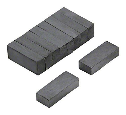 Magnet Expert® F25106F-10 25 x 10 x 6 mm épais Y30BH Aimant en Ferrite - 0,8 kg de Traction (Pack de 10), Métal, Argent, 15x10x3 cm