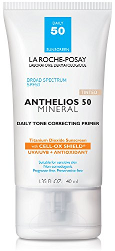 La Roche-Posay Anthelios Mineral Daily Tone Correcting Tinted Face Primer with Broad Spectrum SPF 50, Mineral Sunscreen with Titanium Dioxide, 1.35 Fl. oz