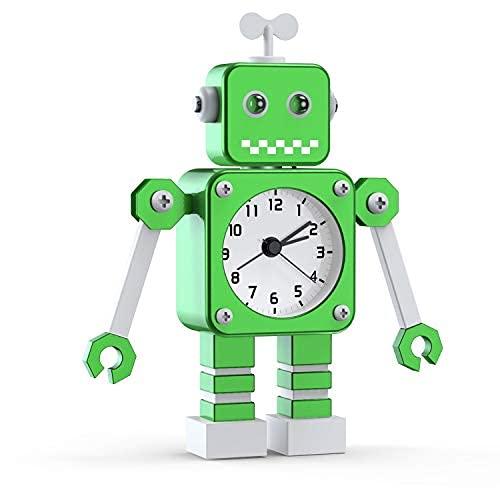 Reloj Despertador para Niños,Reloj Despertador Robot,Reloj Despertador Analógico para Niños Sin Tictac,Reloj Despertador Silencioso para Niños y Niñas, (Verde)