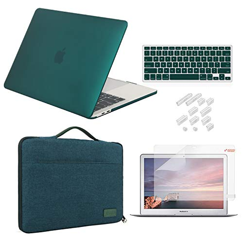 MacBook Air 13 Inch Case 2018 2019 Release Model A1932 Bundle 5 in 1, iCasso Hard Plastic Case, Sleeve, Screen Protector, Keyboard Cover & Dust Plug Compatible MacBook Air 13'' - Dark Cyan