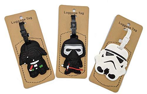 Set of 3 - Super Cute Kawaii Cartoon Silicone Travel Luggage ID Tag for Bags (Star Wars)
