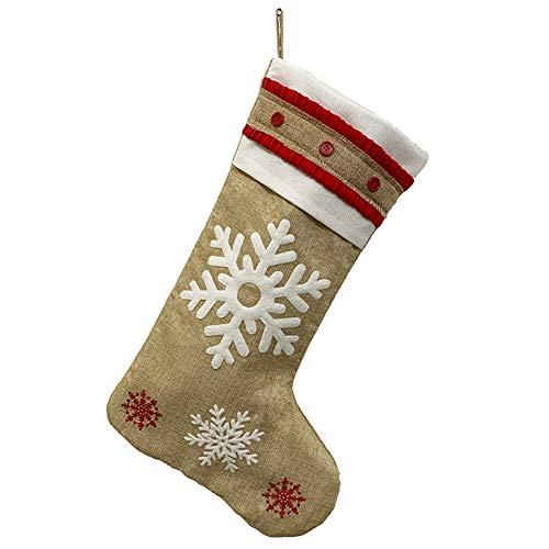 Monnadu Medias De Navidad Personalizadas Colgantes De Navidad con Santa Copo De Nieve Muñeco De Nieve Elk Colgante Bolsa De Almacenamiento Medias De Navidad para Decoración Navideña Copo de Nieve