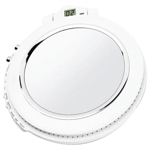 Splash-proof CD Player with Am/fm Radio. Integrated Mirror. Built-in Stereo Spea