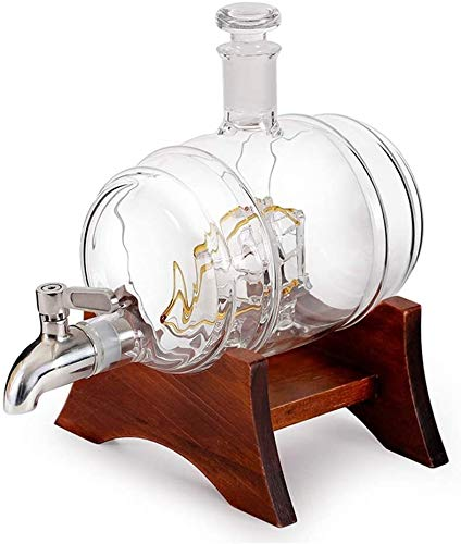 Vasos de Whisky Jarra de Whisky Whisky la jarra del marco de madera con el grifo del barril de vino en forma de botella de vidrio de contenedores 1000ML con 2 Copa de vidrio, whisky regalo del partido