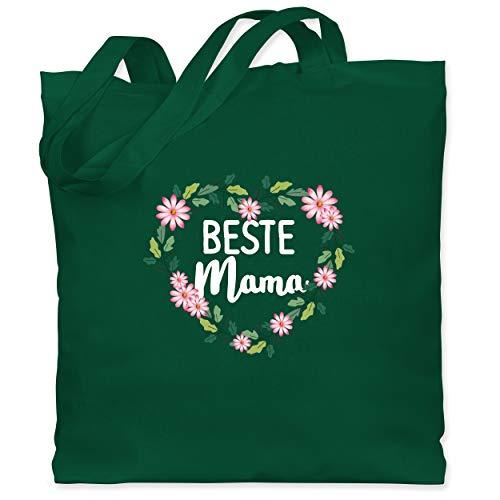 Shirtracer Muttertagsgeschenk - Beste Mama Blumenherz - weiß - Unisize - Dunkelgrün - Spruch - WM101 - Stoffbeutel aus Baumwolle Jutebeutel lange Henkel