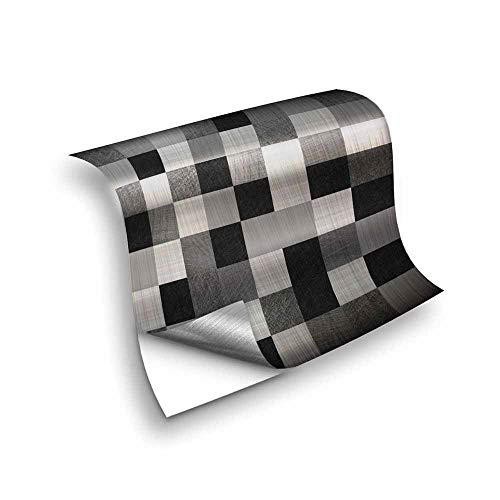 Hiseng 25 Piezas Adhesivos Decorativos para Azulejos Pegatinas para Baldosas del Baño/Cocina Estilo de Mosaico de Metal Resistente al Agua Pegatina de Pared (En Blanco y Negro,10x10cm)