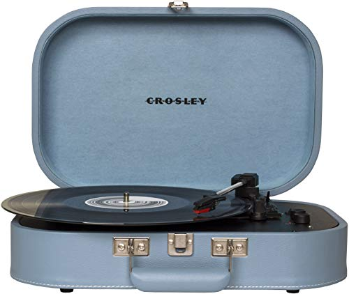 Crosley CR8009A-GLC Discovery Vintage Bluetooth 3-Speed Belt-Driven Suitcase Turntable, Glacier