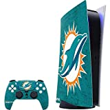 Skinit Decal Gaming Skin Compatible with PS5 Digital Edition Console + Controller - Officially Licensed NFL Miami Dolphins Distressed- Aqua Design