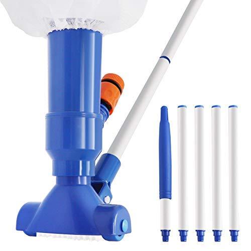 Aspirador de piscina, aspiradora de mano con barra de 5 secciones y bolsa de filtro, cepillo de vacío de piscina para sobre el suelo..