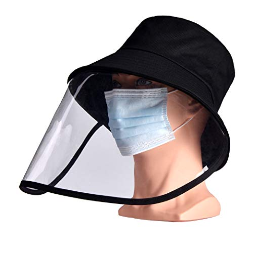 FINEST+ Safety Face Shield Protective Bucket Hat, Anti Spitting and Anti Saliva Fog Dust UV Sun Full Protective Hat Cover Outdoor Fisherman Hat for Men and Women