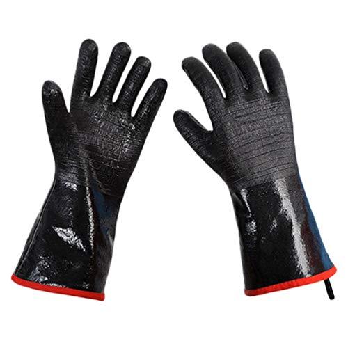 HEMOTON Grillhandschuhe Hitzebeständige Handschuhe Grill Küchenfenhandschuhe Wasserdicht Rutschfester Tpflappen zum Grillen Kchen Baen Grillen SchweißenSchwarz 14 Zll