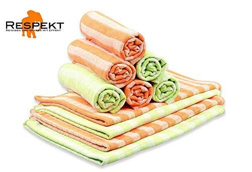 RESPEKT Mikrofaser Bamboo Geschirrtücher, Trockentücher, Putztücher und Reinigungstücher für den Haushalt, das Auto UVM. - 10tlg. Mikrofaser Geschirrtücher Set in orange und grün
