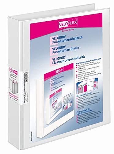 Veloflex 4147190 - Präsentationsringordner VELODUR® DIN A4, PP kaschiert, 2-D-Ring-Mechanik, 30mm, weiß, 1 Stück
