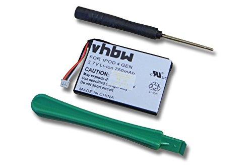 vhbw Li-Ion Akku 750mAh (3.7V) für Video MP3 Player Apple IPod 4.Generation, 4G, A1059, A1099 wie 616-0183, 616-0198, 616-0206.